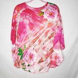 Chico's Tops - Chico's Hot Pink Floral Short Sleeve Kaftan